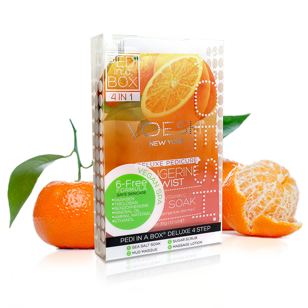 A Tangerine Twist pedicure kit from Voesh.